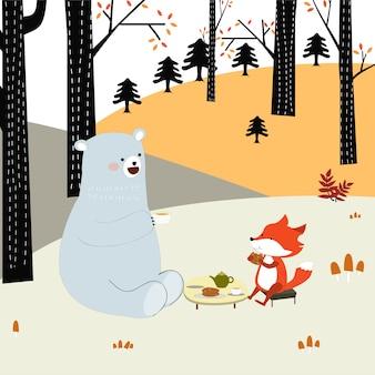 Carino primavera estate volpe lupo e orsacchiotto bere caffè insieme