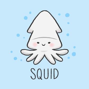 Stile disegnato a mano sveglio del fumetto di squid