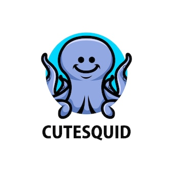 Logo del fumetto di calamari carino
