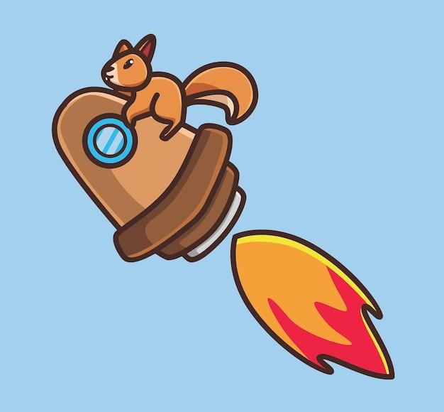 Simpatico scoiattolo astronauta in sella a un razzo verso la galassia. illustrazione dell'icona di design piatto stile adesivo isolato del fumetto animale vettore premium logo personaggio mascotte