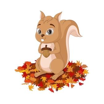 Cartone animato carino scoiattolo su foglie di autunno