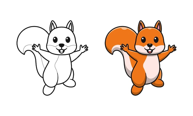 Simpatico scoiattolo cartone animato da colorare per bambini