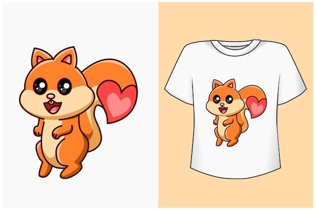 Simpatico scoiattolo con illustrazione di cartone animato di amore