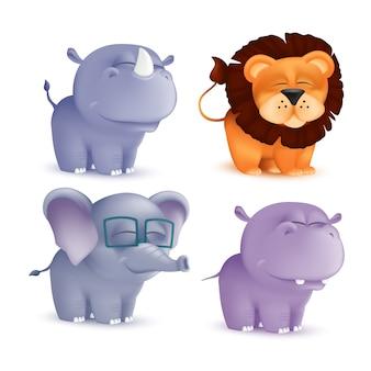 Personaggi svegli del bambino del fumetto di condizione e strabismo fissati - rinoceronte, leone, elefante, ippopotamo. illustrazione degli animali appena nati di una mascotte africana della fauna selvatica isolati
