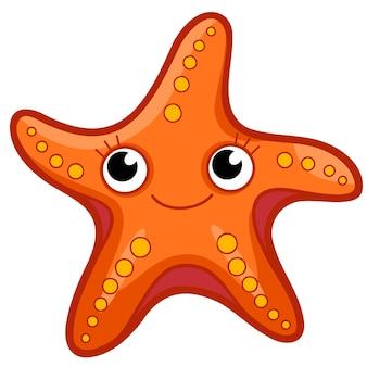 Cartone animato carino stelle marine. illustrazione di clipart di stelle marine