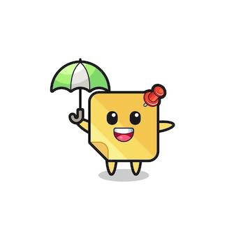 Simpatica illustrazione di foglietti adesivi che tiene un ombrello, design in stile carino per maglietta, adesivo, elemento logo