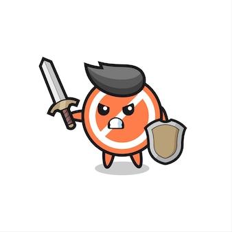 Simpatico segnale di stop soldato che combatte con spada e scudo, design in stile carino per t-shirt, adesivo, elemento logo