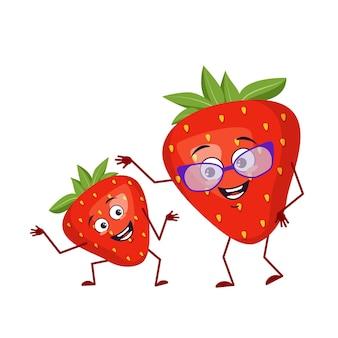 Simpatico personaggio fragola divertente nonna e nipote, braccia e gambe. l'eroe divertente o triste, frutta rossa e bacca con gli occhiali. illustrazione piatta vettoriale