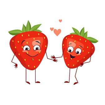 Simpatici personaggi di fragole con emozioni d'amore, viso, braccia e gambe. gli eroi divertenti o felici, i frutti rossi e le bacche giocano, si innamorano. illustrazione piatta vettoriale