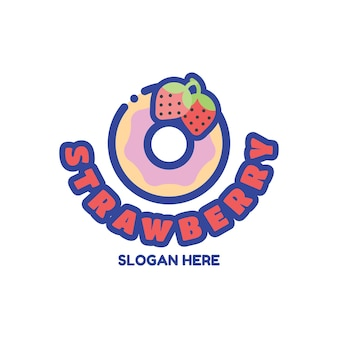 Simpatico modello di progettazione del logo della ciambella alla fragola