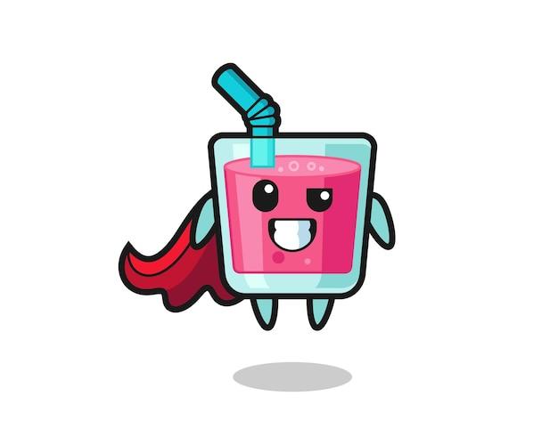 Il simpatico personaggio di succo di fragola come un supereroe volante, design in stile carino per maglietta, adesivo, elemento logo