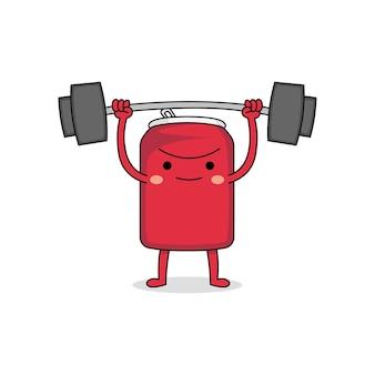 Sollevamento pesi carino forte può personaggio dei cartoni animati