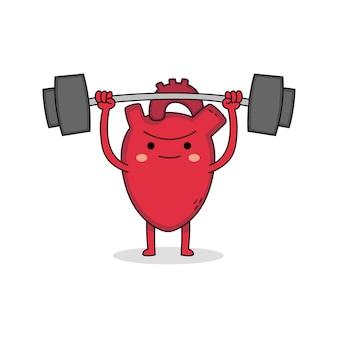 Sollevamento pesi sveglio del personaggio dei cartoni animati del cuore forte