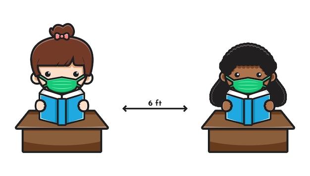 Carino studente torna a scuola nuovo stile normale icona del fumetto illustrazione vettoriale. design isolato su stile cartone animato piatto bianco.
