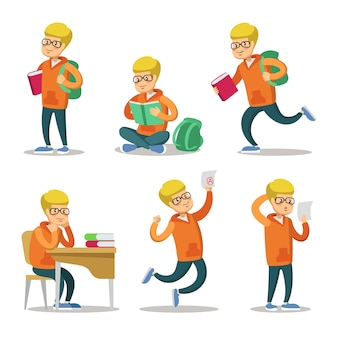 Set di caratteri del fumetto sveglio dello studente. adolescente con il libro.