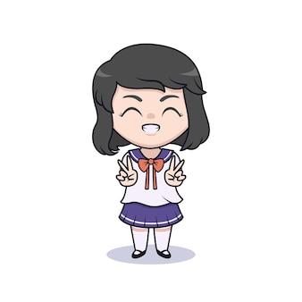 Ragazza carina studentessa che usa l'illustrazione dell'uniforme dello studente giapponese