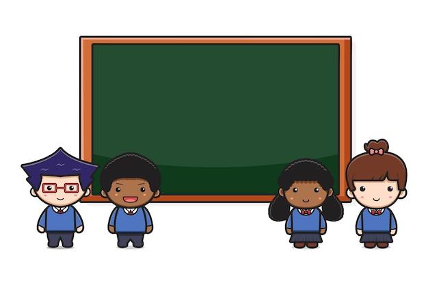 Studente carino in piedi davanti all'icona del fumetto di bordo. design isolato su stile cartone animato piatto bianco.