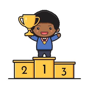 Studente carino in piedi sul podio che tiene il trofeo di rango un'icona del fumetto. design isolato su stile cartone animato piatto bianco.