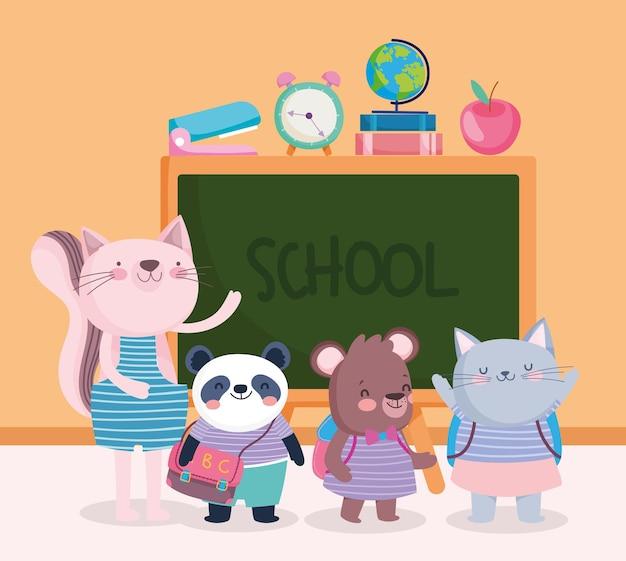 Simpatici animali insegnanti studenti