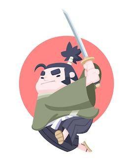 Samurai paffuto giapponese determinato stile carino che salta con katana nel suo cartone animato di mano