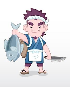 Pescatore giapponese in stile carino in piedi con orgoglio con un grande pesce dell'oceano in mano