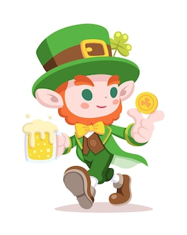 Leprechaun di stile sveglio che tiene l'illustrazione del fumetto di vetro di birra e moneta d'oro