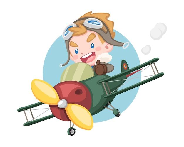 Stile carino piccolo ragazzo pilota che alza il pollice in sella a un aereo d'epoca con illustrazione di sfondo cerchio