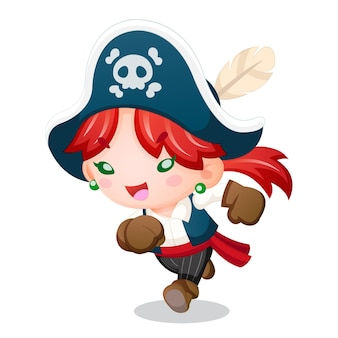 Ragazza pirata in stile carino che esegue l'illustrazione del fumetto