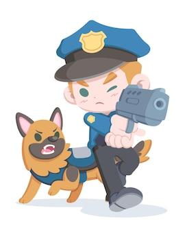 Ufficiale di polizia stile carino che mira pistola e cane fumetto illustrazione