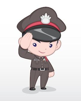 Ufficiale di polizia tailandese di stile sveglio che sta e che saluta l'illustrazione del fumetto