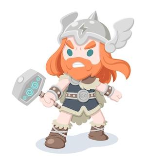Stile carino thor, mitologia norrena dio del tuono fumetto illustrazione cartoon
