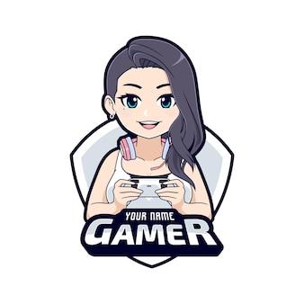 Logo di gioco personaggio dei cartoni animati carino elegante ragazza del giocatore