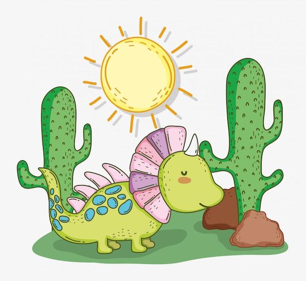 Carino animale styracosaurus con cactus e sole