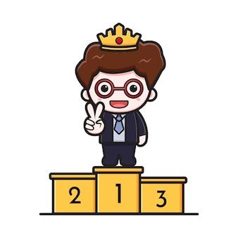 Carino uomo d'affari di successo sul primo podio icona del fumetto illustrazione vettoriale. disegno isolato su bianco. stile cartone animato piatto.