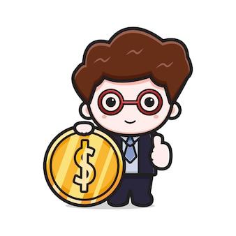 Simpatico uomo d'affari di successo che tiene l'icona dell'oro del fumetto. disegno isolato su bianco. stile cartone animato piatto.