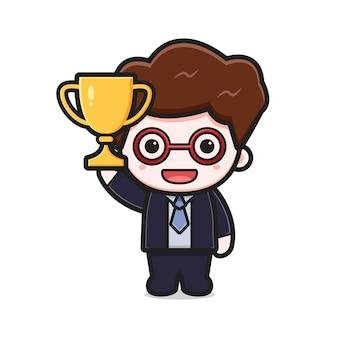 Carino uomo d'affari di successo che tiene il trofeo del fumetto icona vettore illustrazione. disegno isolato su bianco. stile cartone animato piatto.