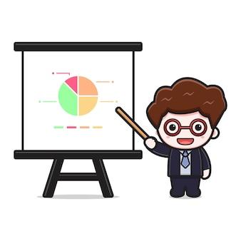 Presentazione sveglia dell'uomo d'affari di successo con l'icona di vettore del fumetto del bastone. disegno isolato su bianco. stile cartone animato piatto.