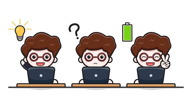Carino uomo d'affari di successo che lavora arguzia laptop icona vettore del fumetto. disegno isolato su bianco. stile cartone animato piatto.