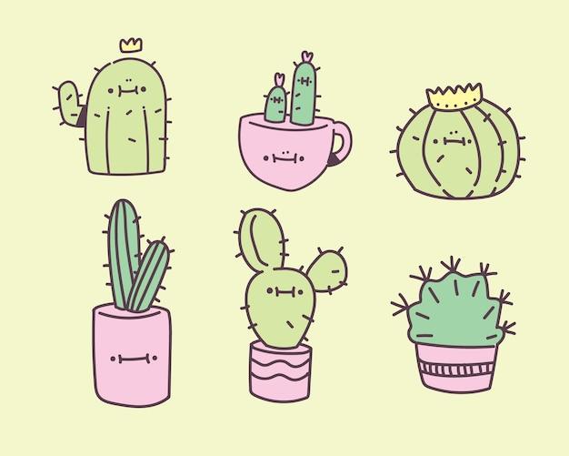 Carino succulento. pianta di cactus con illustrazione vettoriale faccia felice. stile di disegno a mano di cactus