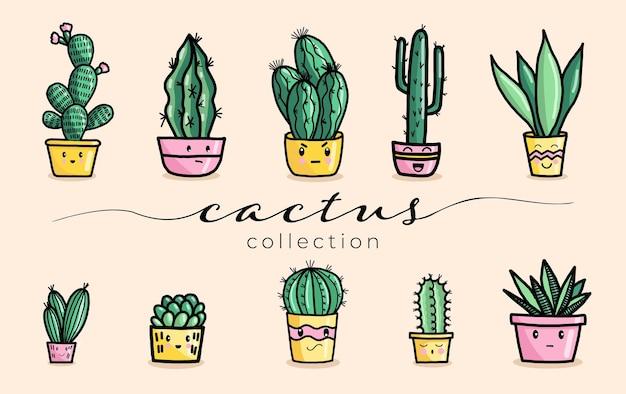 Simpatica pianta succulenta e cactus con set di illustrazioni vettoriali faccia felice