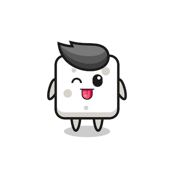 Simpatico personaggio zolletta di zucchero in dolce espressione mentre tira fuori la lingua, design in stile carino per t-shirt, adesivo, elemento logo
