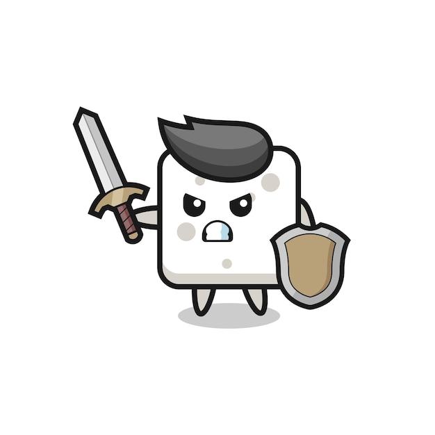 Simpatico soldato in zolletta di zucchero che combatte con spada e scudo, design in stile carino per maglietta, adesivo, elemento logo