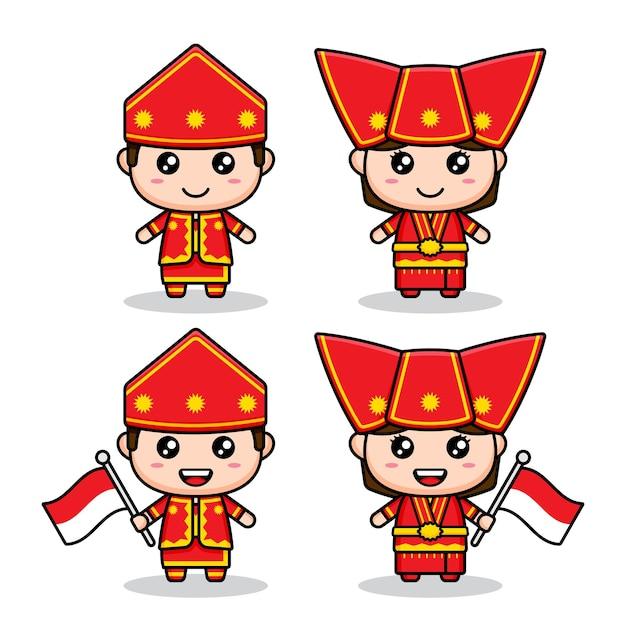 Simpatico personaggio indonesiano di moda etnica sumatera
