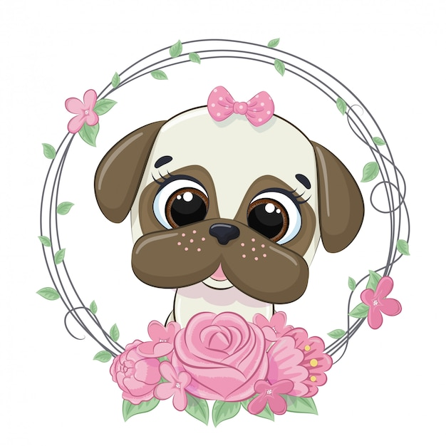 Cagnolino carino estate con ghirlanda di fiori. illustrazione