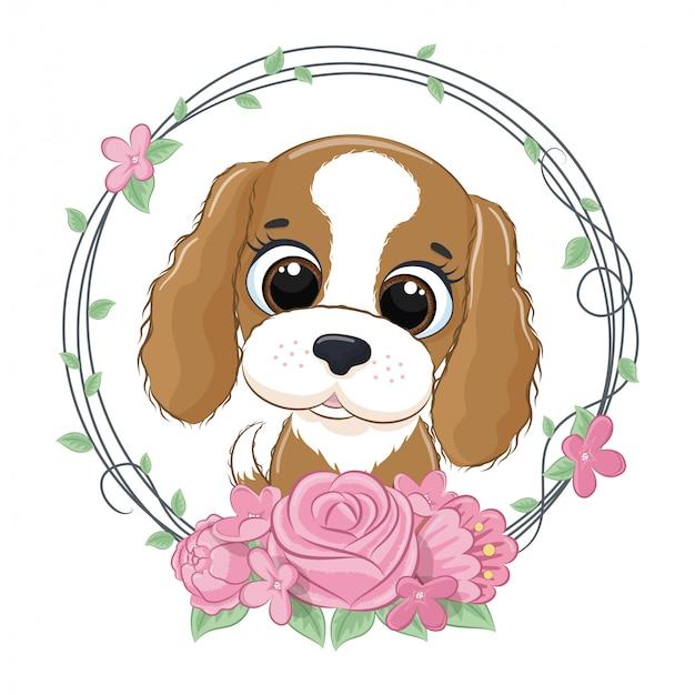 Simpatico cagnolino estivo con ghirlanda di fiori. illustrazione vettoriale per baby shower, cartolina d'auguri, invito a una festa, stampa t-shirt vestiti moda.