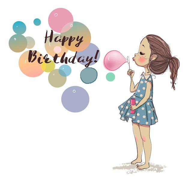 Carina ragazza di compleanno estiva con bolle colorate