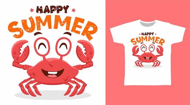 Simpatico design della maglietta del granchio estivo