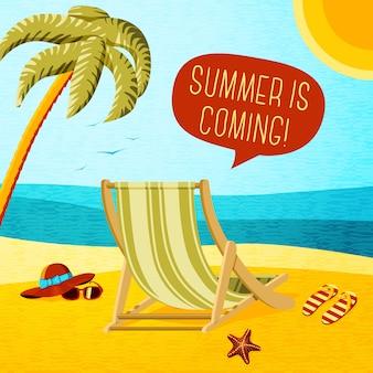 Simpatico poster estivo - sedia a sdraio, palmo, cappello e occhiali da sole con nuvoletta per il tuo testo.