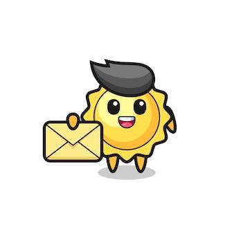 Simpatico personaggio del sole che mangia noodles fumetto illustrazione del sole che tiene una lettera gialla, design in stile carino per t-shirt, adesivo, elemento logo