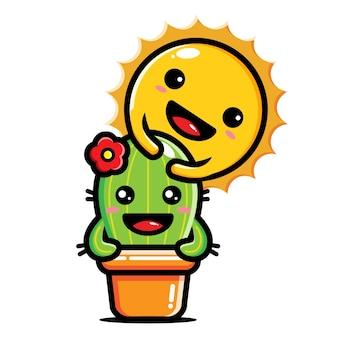 Sole carino che abbraccia cactus carino